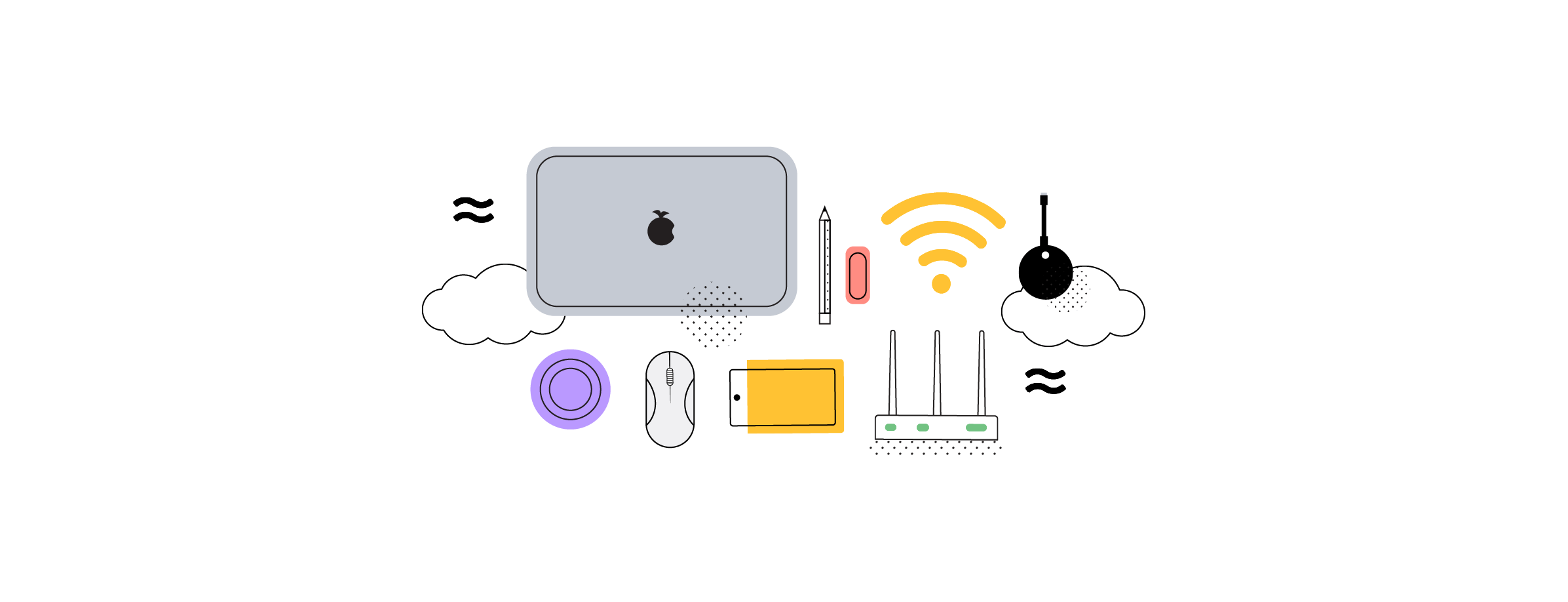 No cable devices such as laptop, router, WiFi and Airtame
