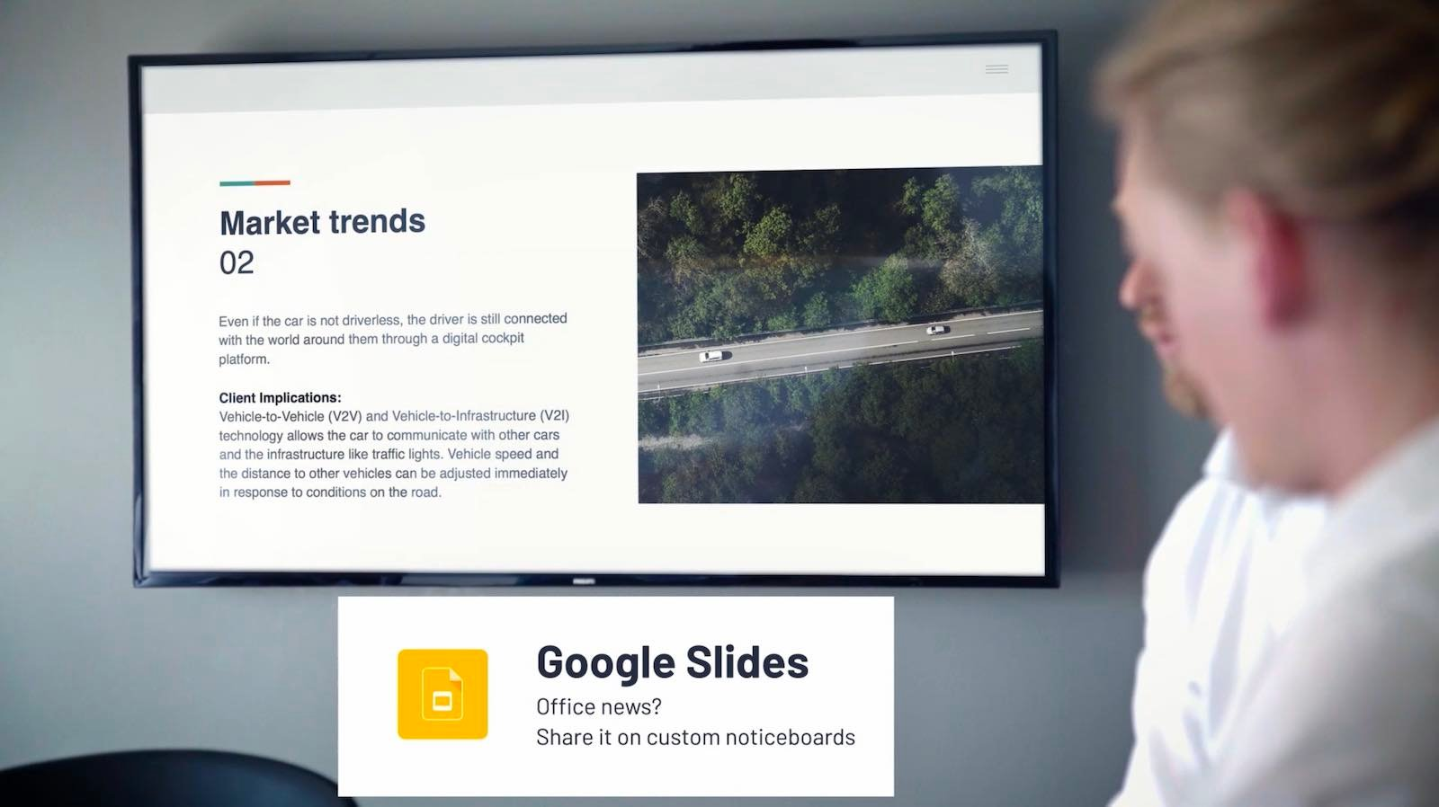 Google Slides on a TV's homescreen