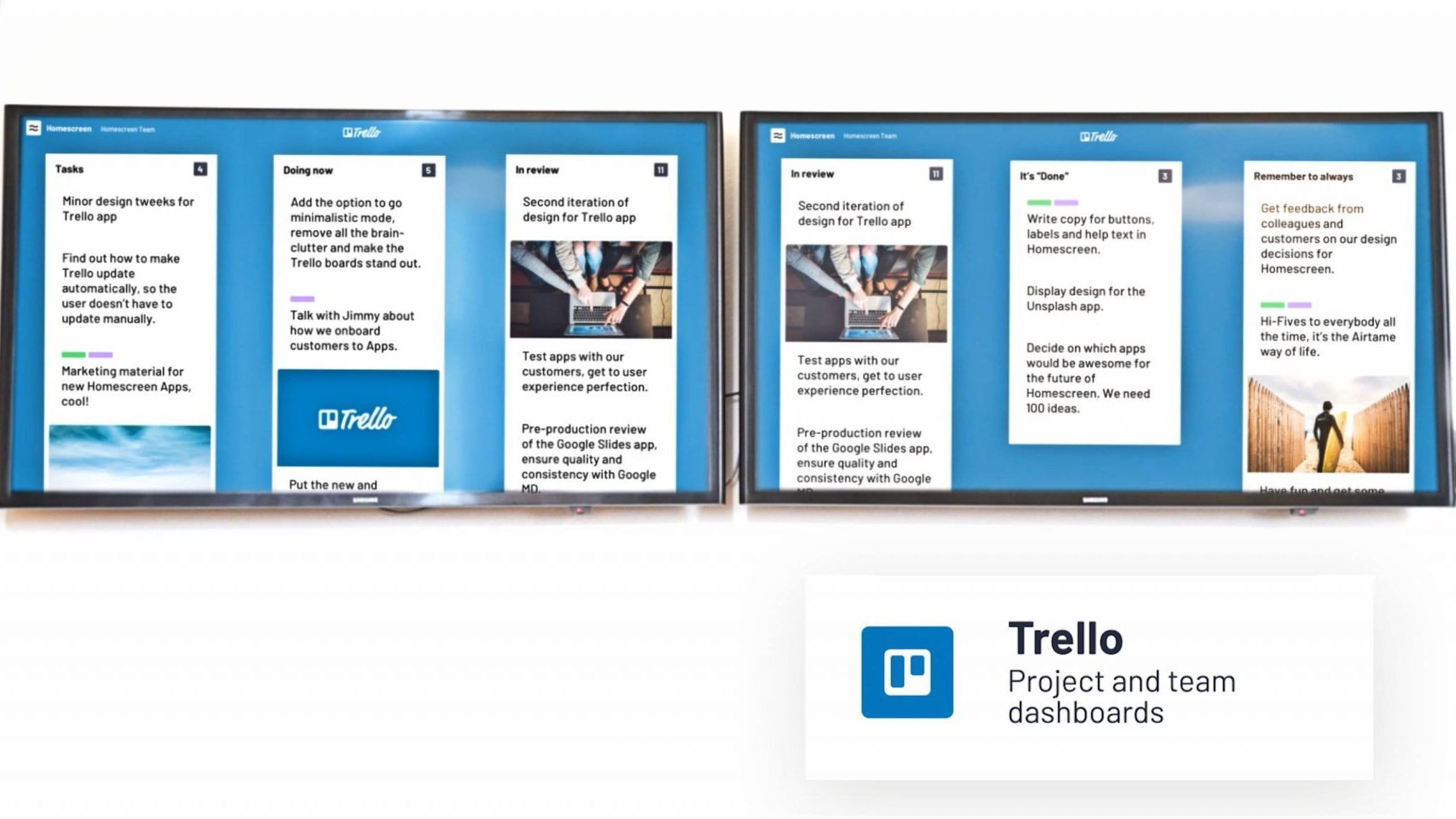 Trello - one of Airtame's homescreen apps - presented on two TV screens