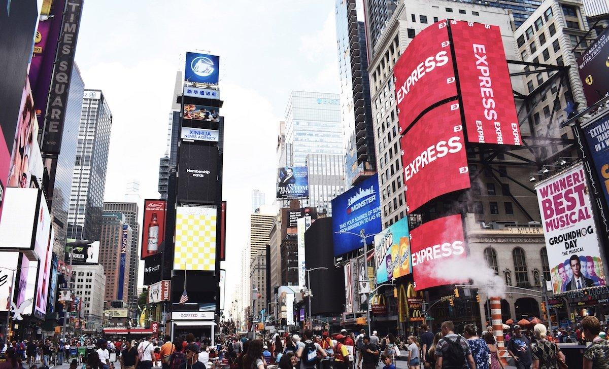 Representation of digital signage on Times Square's screens