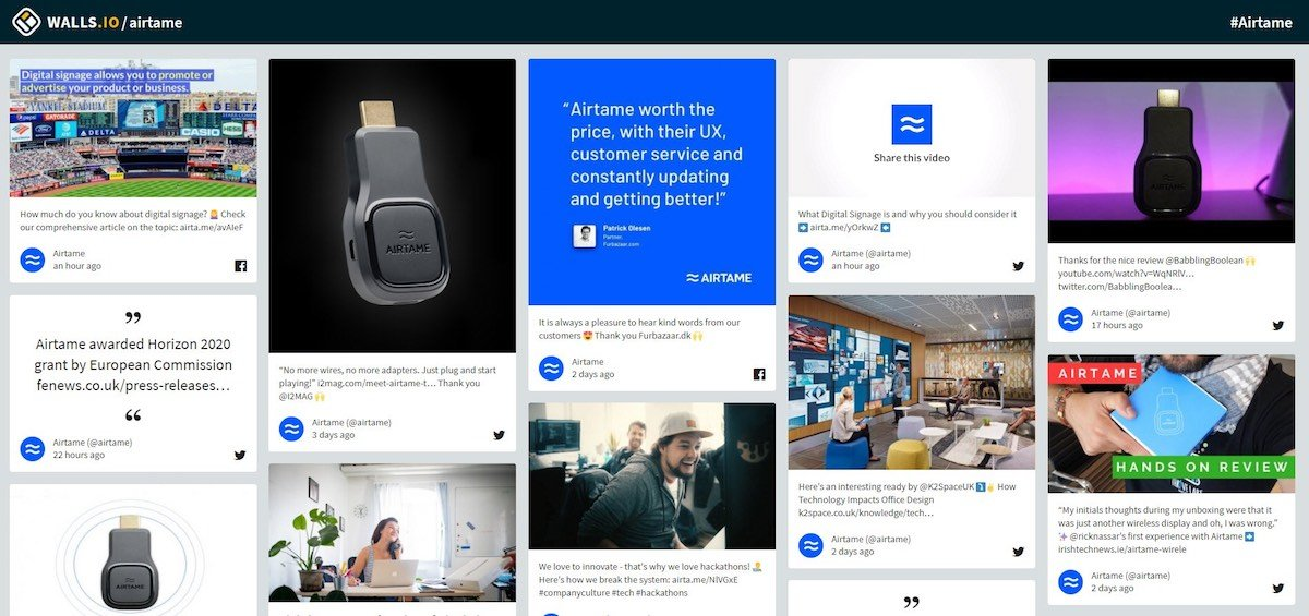 Screenshot from a Walls.io Dashboard showing images of Airtame devices and social media comments
