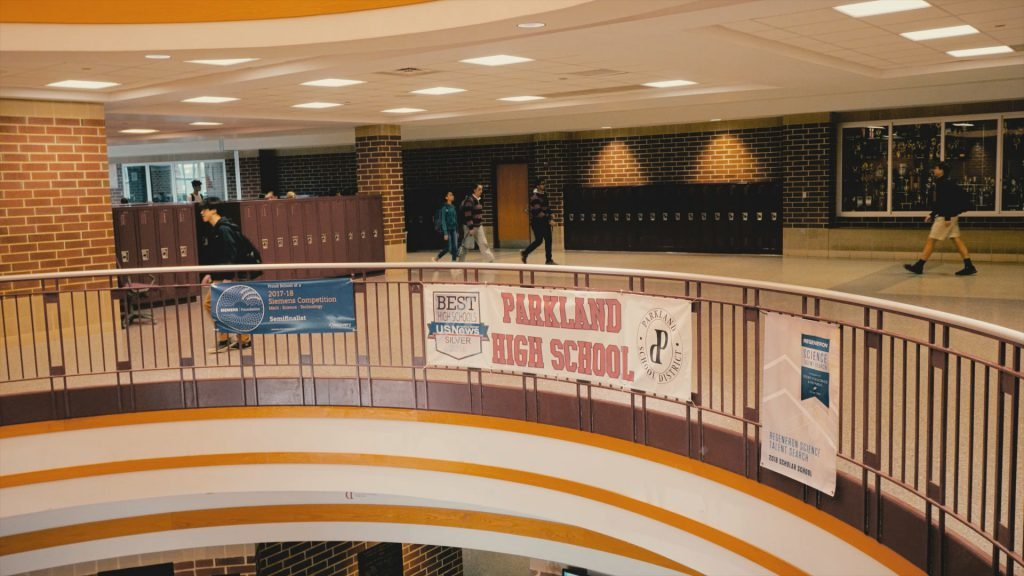 Parkland School District lobby with students