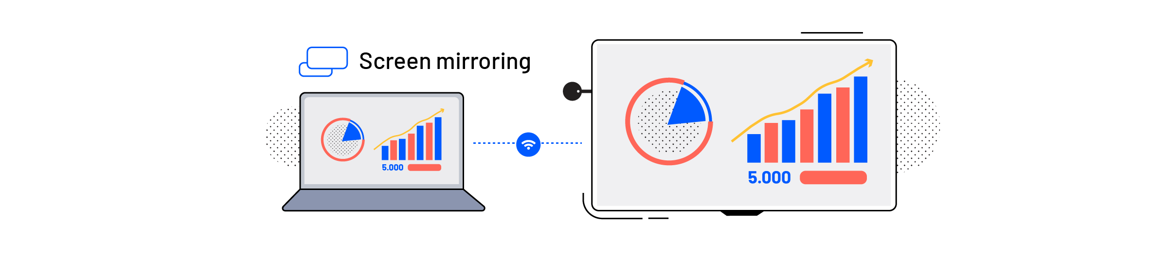 A laptop screen mirroring to a screen using an Airtame device for screen sharing