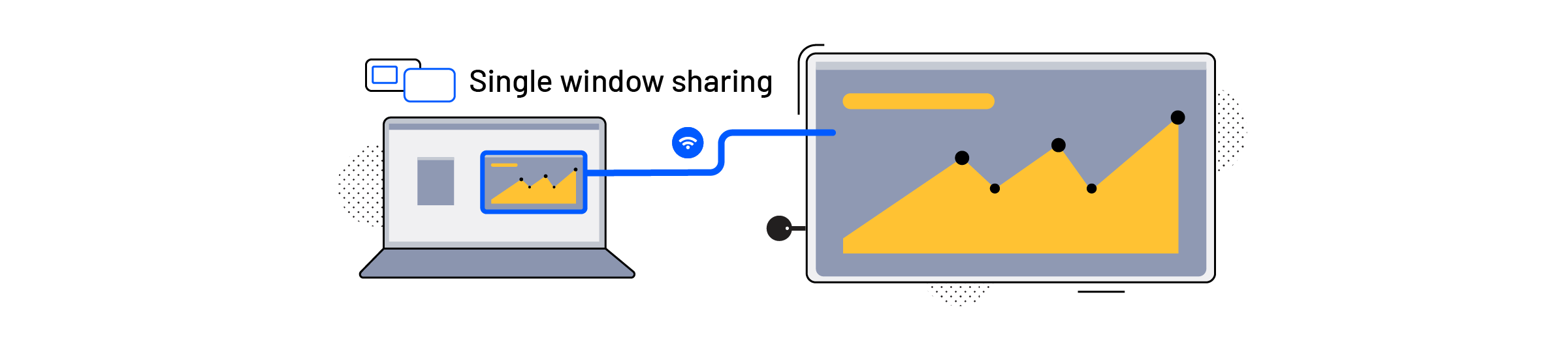 A laptop using the single window sharing feature on a screen connected to an Airtame device for screen sharing