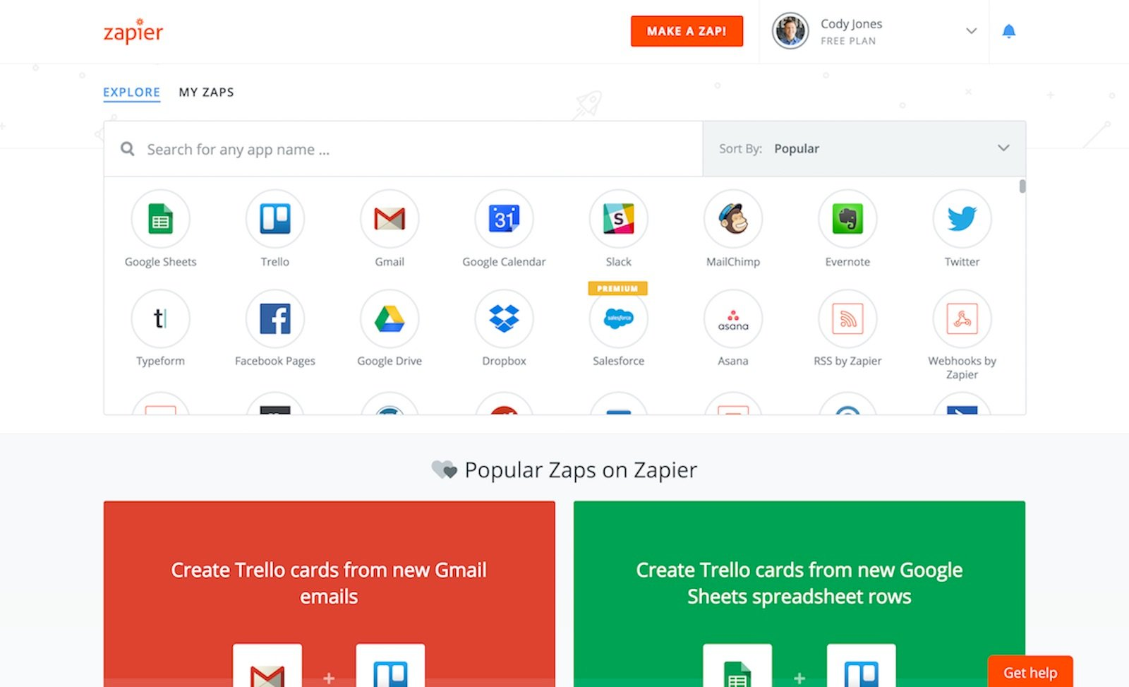 Screenshot of one of business tools - Zapier