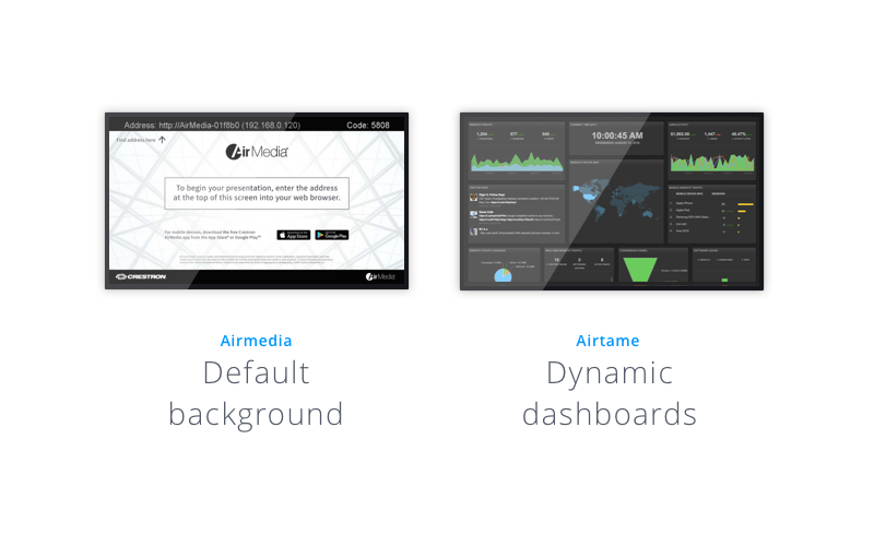 AirMedia's default background vs Airtame's dynamic dashboard shown on two different TV screens