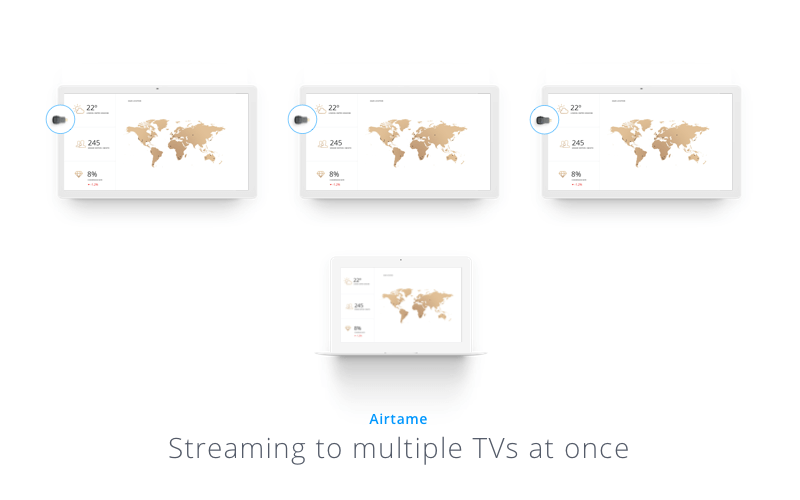 Screenshot showing the Airtame 2 streaming to multiple TVs at once
