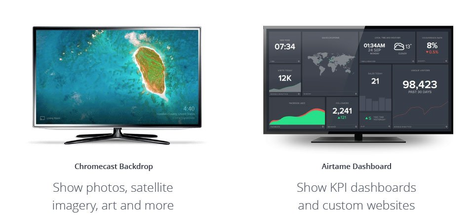 Two TV screens, one showing Chromecast Background and the other Airtame Dashboard