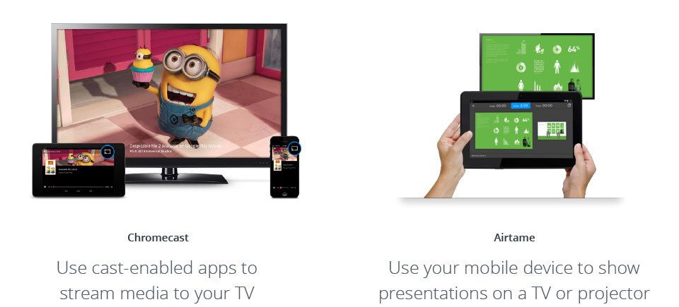Image of Chromecast alternative streaming TV movie directly from a phone and a tablet vs Airtame presenting wirelessly from tablet to a screen