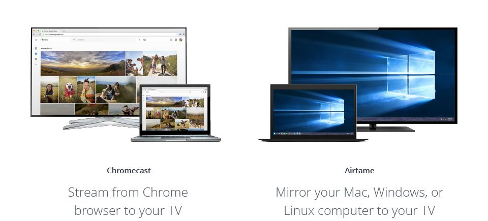 Image of two screens, one showing streaming from Chrome browser and the other showing Airtame's screen mirroring