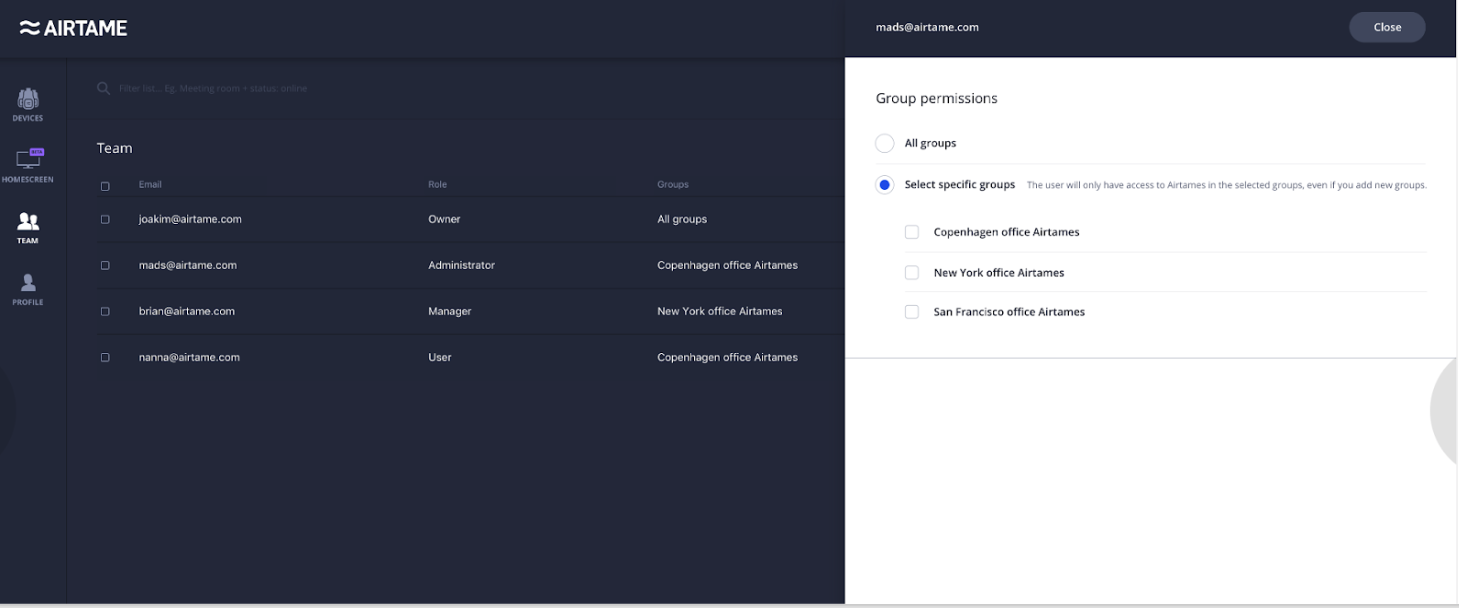 A screenshot from the Airtame Cloud showing user roles