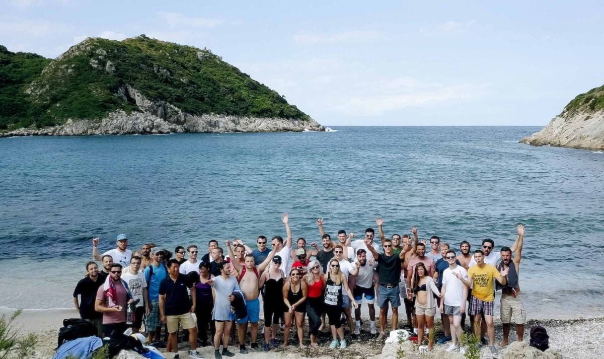 Airtame employees celebrating in a beach