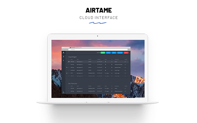 A laptop screen showing the Airtame 2 Cloud interface