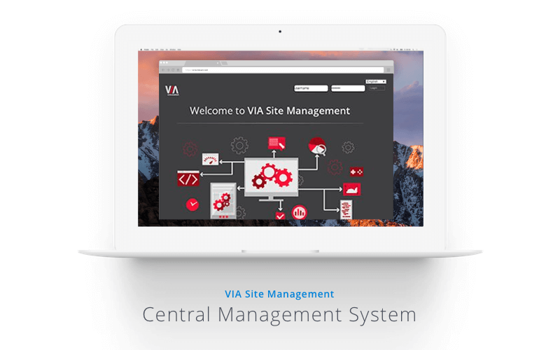 Laptop displaying the VIA Central Management System