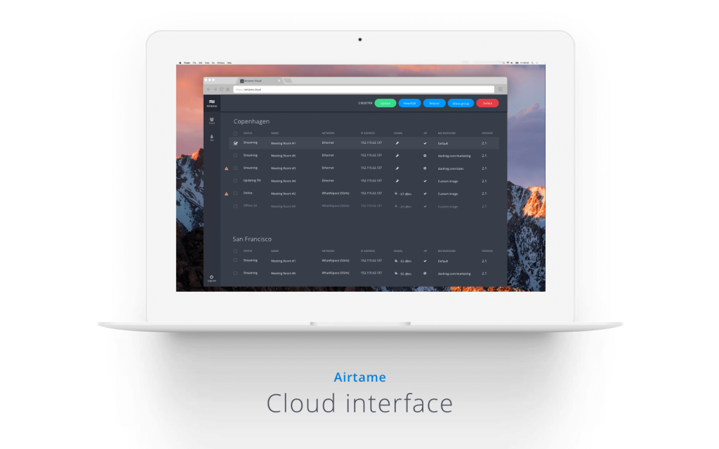 Airtame Cloud interface shown on a laptop