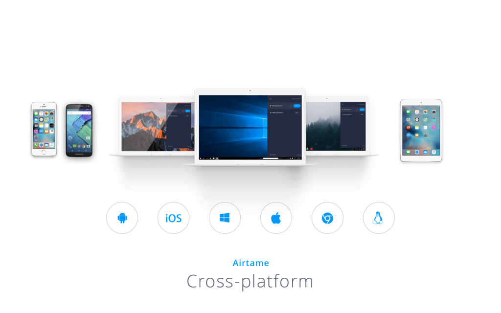 Airtame's cross-platform offers a possibility to connect Airtame to different computers, phones, and tablets