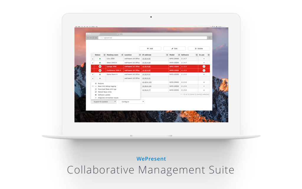 WePresent alternative Collaborative Management Suite displays on a laptop's screen