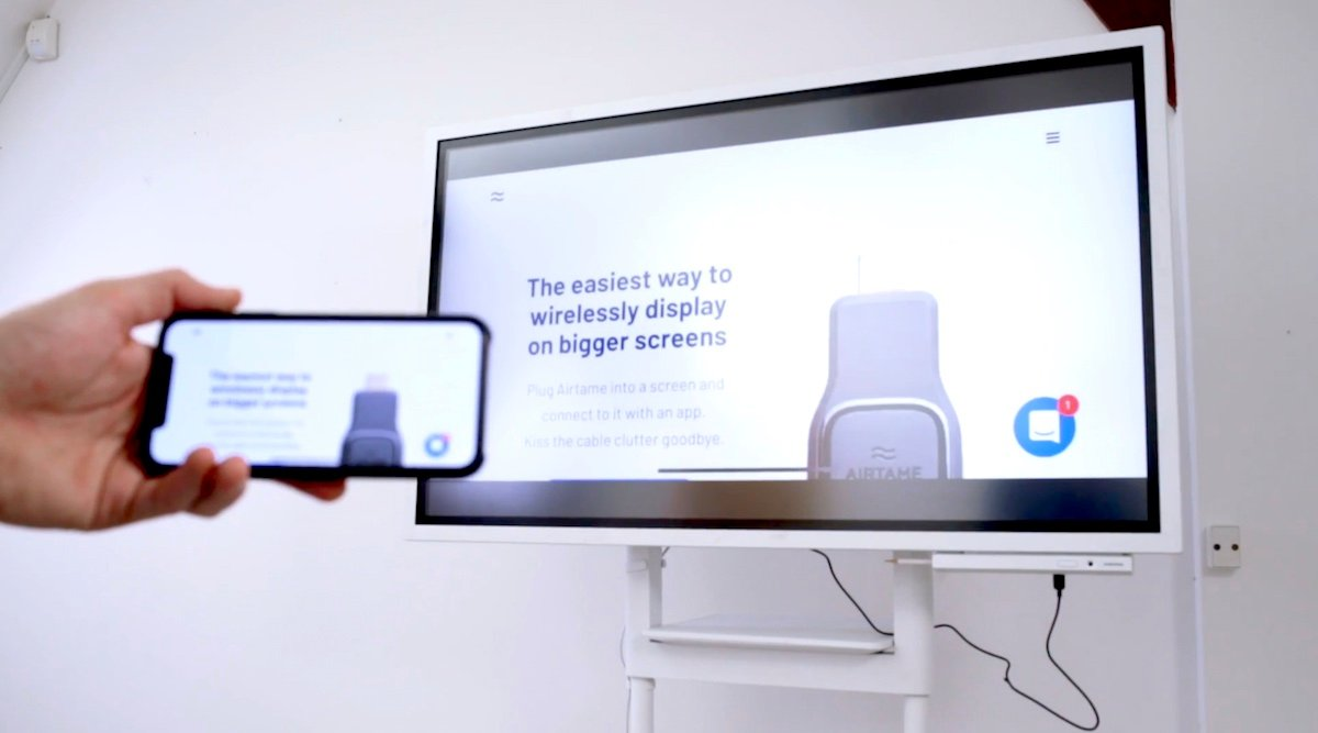 A Samsung Flip Digital Flipchart connected wirelessly to an Airtame device
