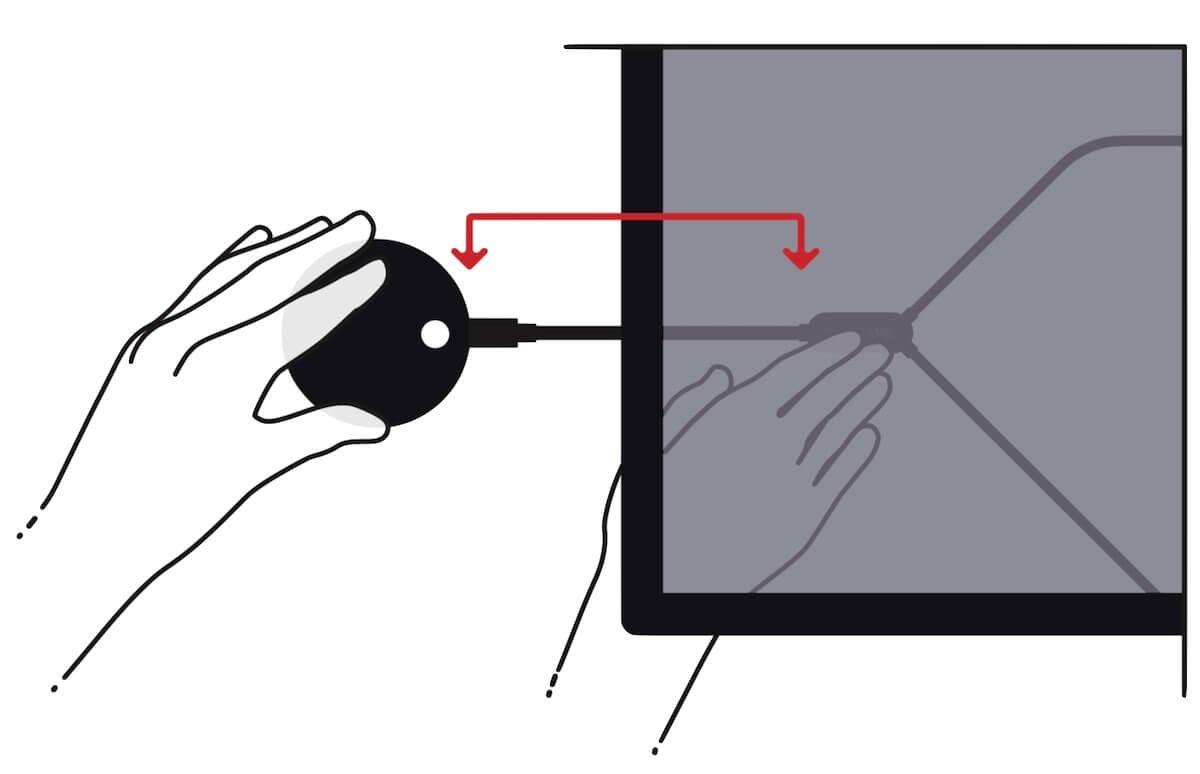 Screenshot showing how to place the Airtame 2 behind the TV for better installation