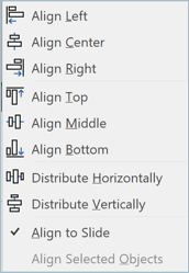 Screenshot from PowerPoint showing how to align your slides for a presentation