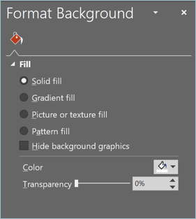 Screenshot from PowerPoint showing how to format backgrounds for a presentation
