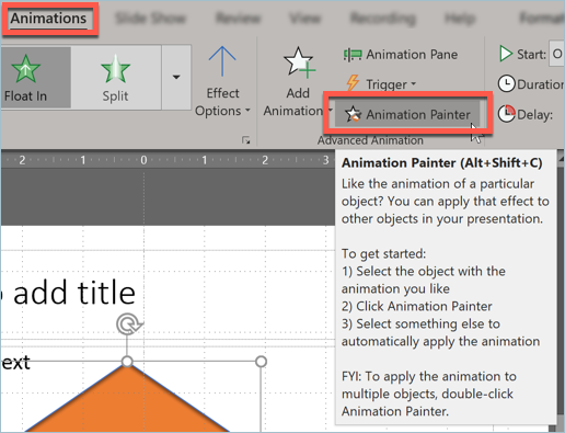 Screenshot from PowerPoint showing how to use animations for a presentation