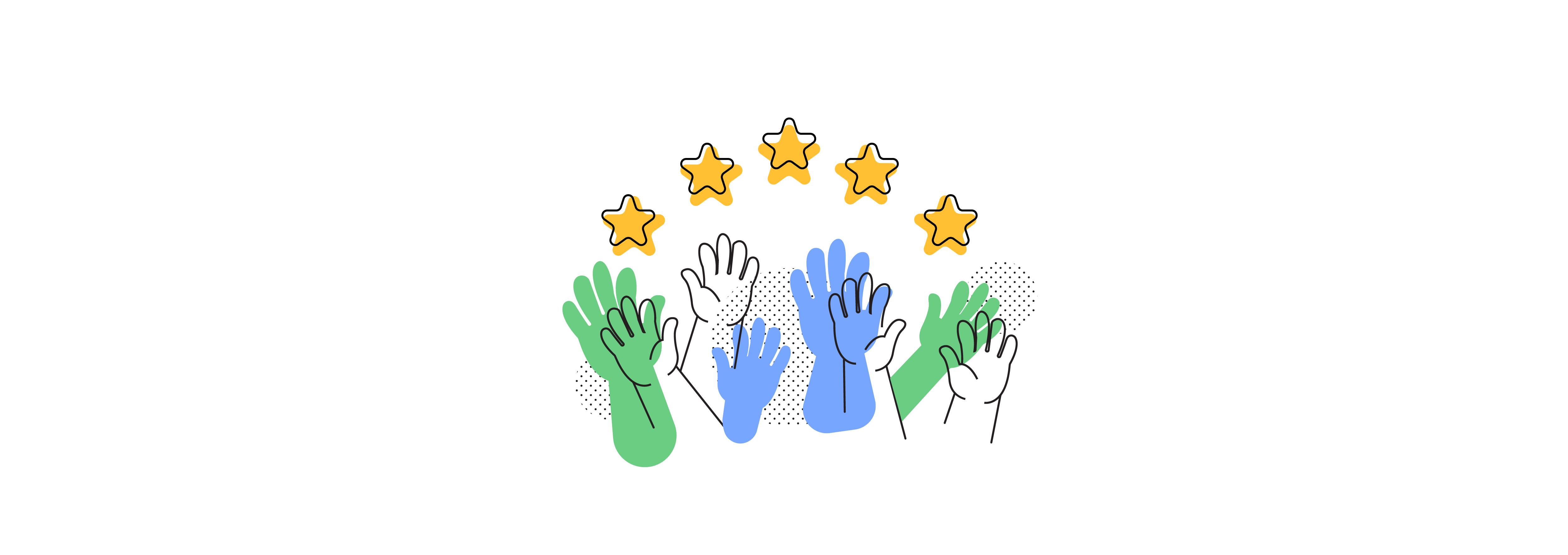 All hands reaching stars