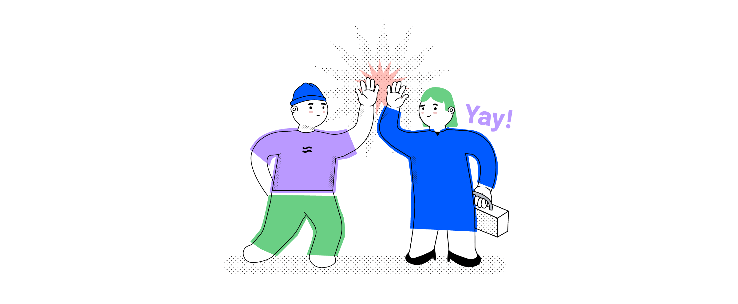 Two employees giving each other a high five