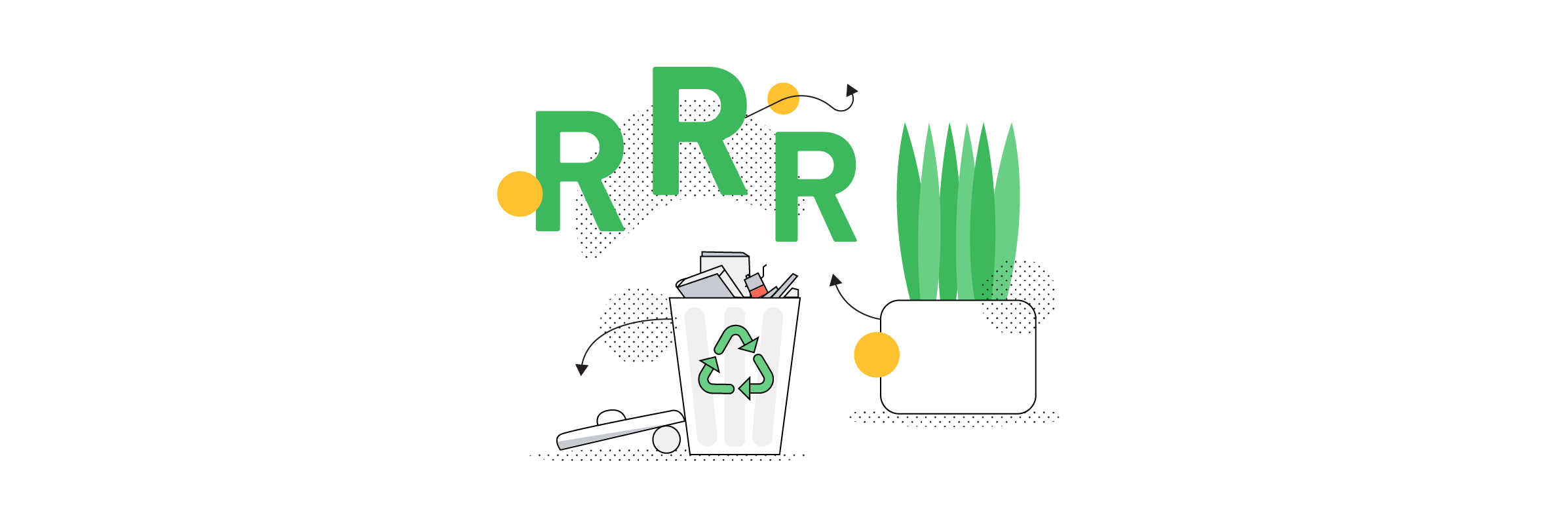 Image representing the three Rs - reduce, reuse and recycle
