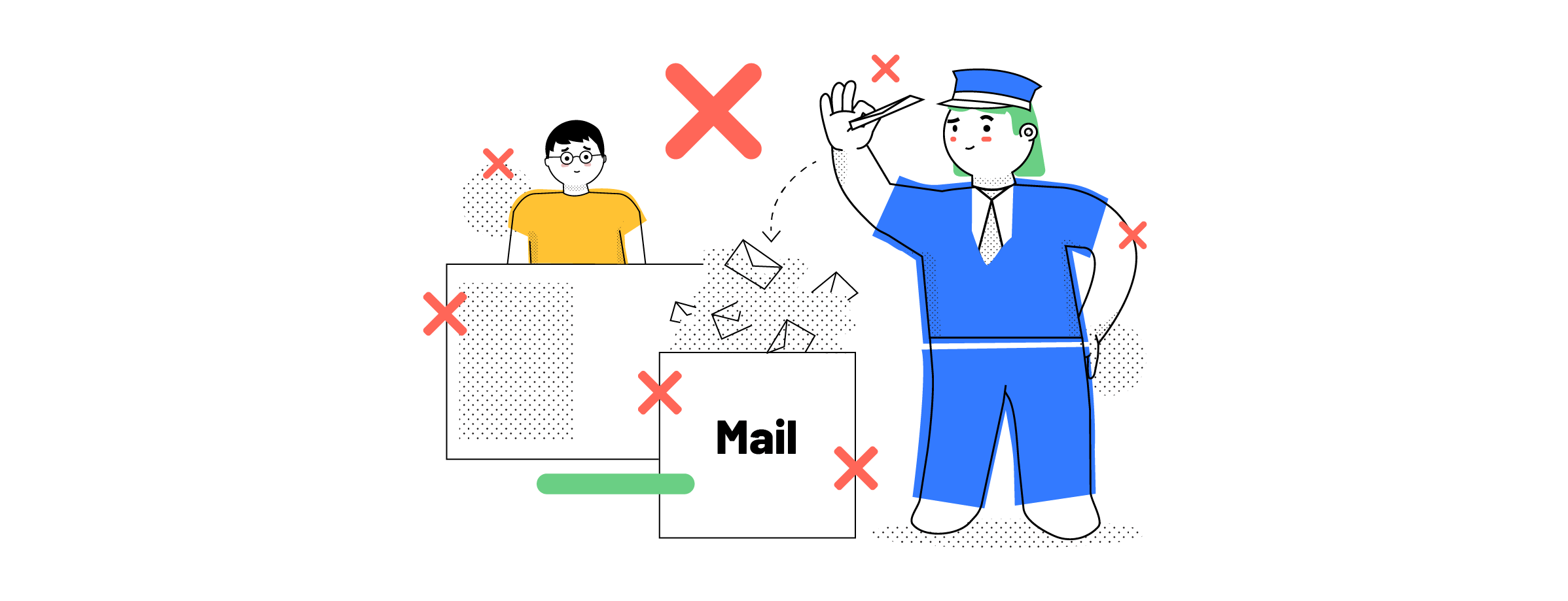 Mail delivery in front of the reception
