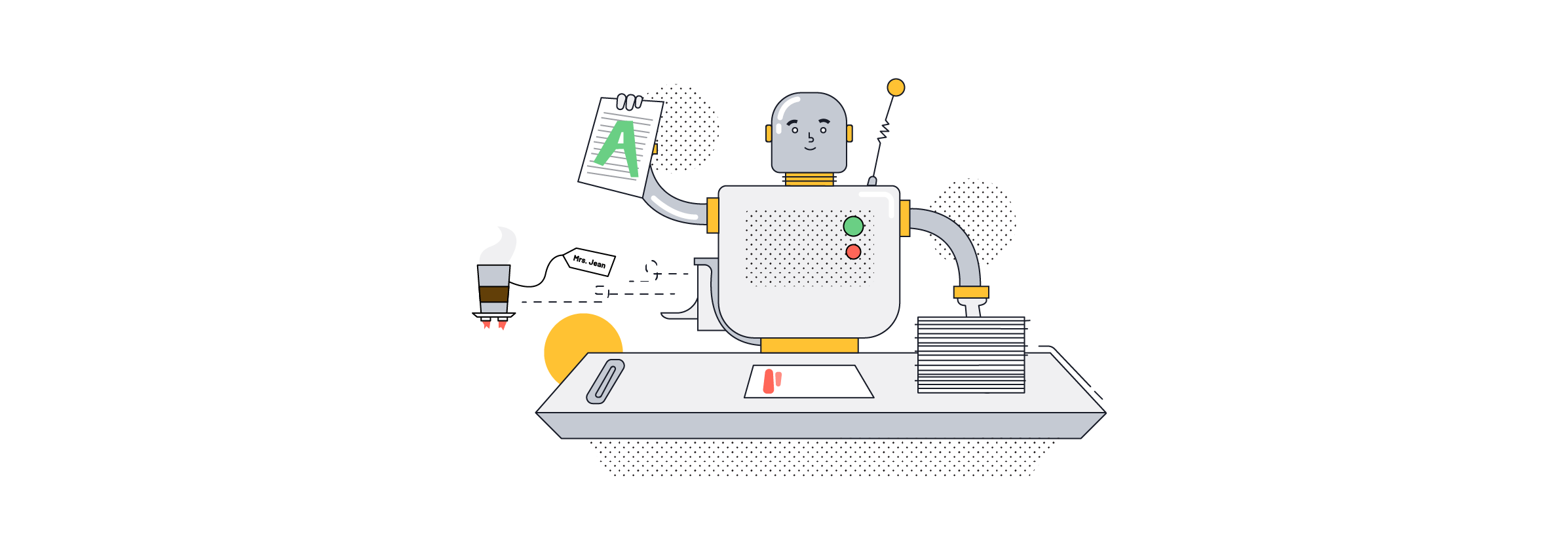 Robot correcting exams in schools