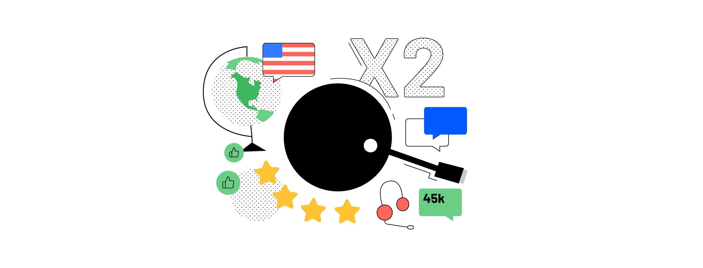 An Airtame device among the 2018 usage data from around the world together with an American flag and five stars