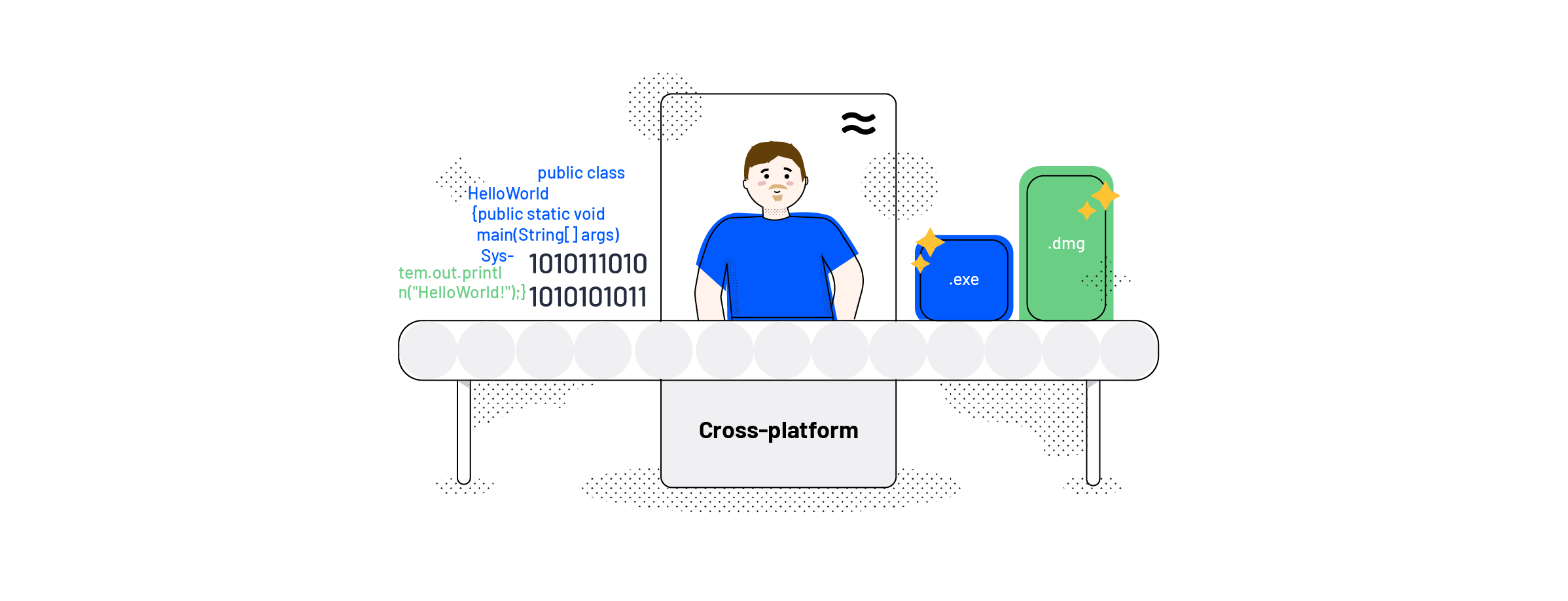 A man from the infrastructure team standing in front of a conveyor belt packing code into cross-platform packages