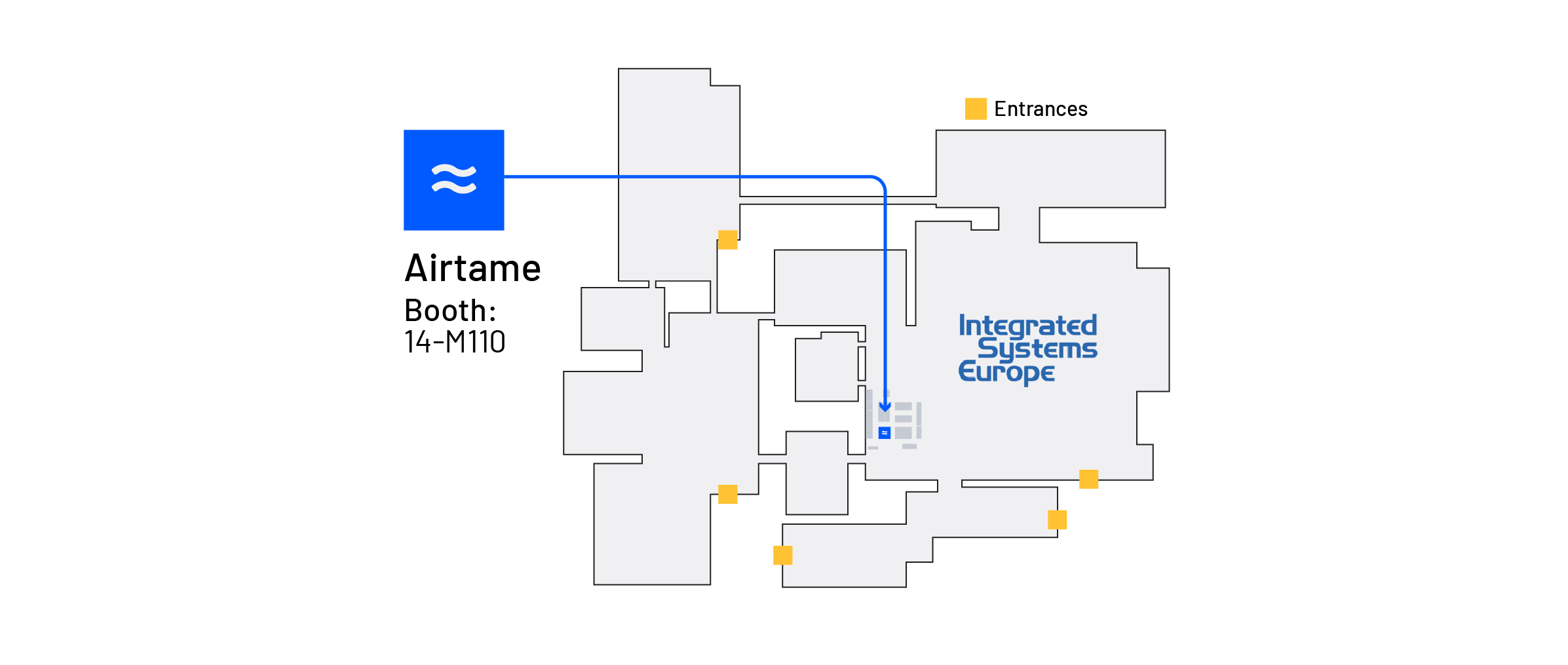 ISE floor plan showing the Airtame booth location