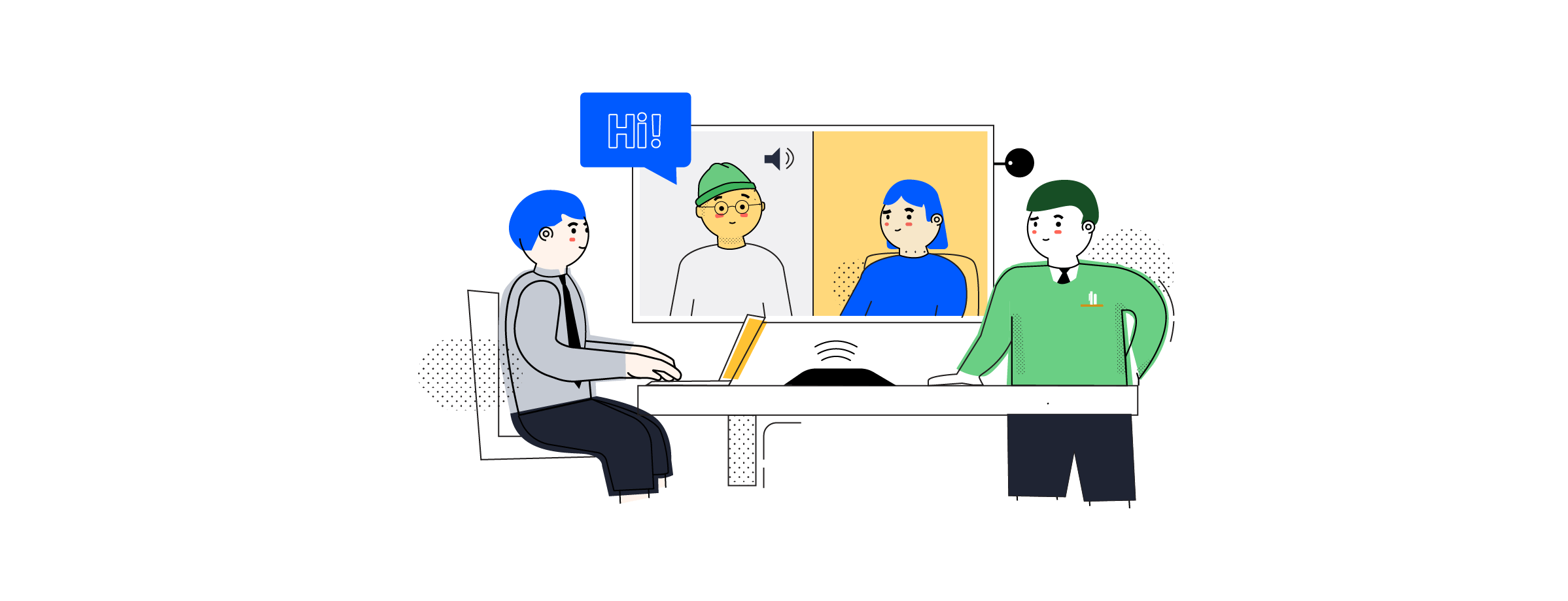 Image of a virtual meeting as one of current office trends