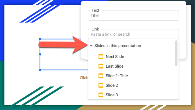 Screenshot from Google Slides showing how to link slides from the same presentation