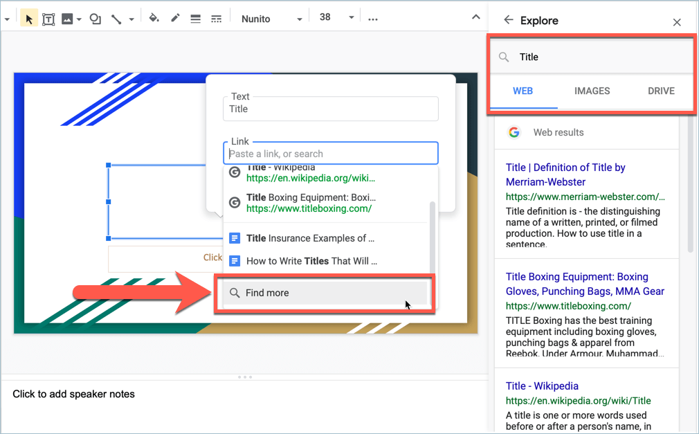 Screenshot from Google Slides showing how to find more links for your presentation using the Explore Side Panel