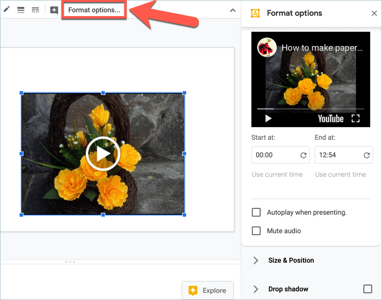 Screenshot from Google Slides showing how to edit and format YouTube videos in your presentation