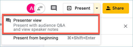 Screenshot from Google Slides showing how to present with audience Q&A and view speaker notes