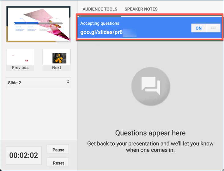 Screenshot from Google Slides showing how to generate a link to your online presentation and send the link to your audience