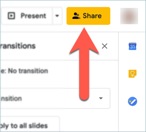 Screenshot from Google Slides showing how to collaborate with teammates in real time using the share button