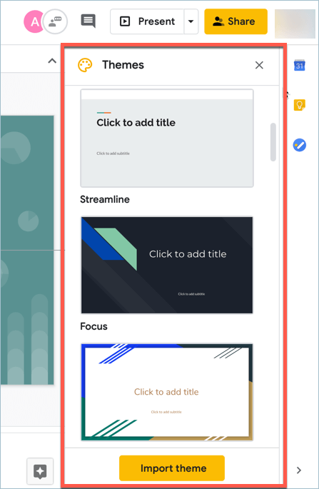 Screenshot from Google Slides showing the Themes side panel