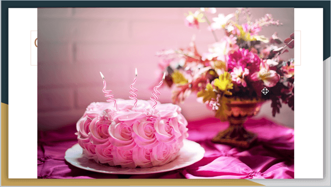 Screenshot from Google Slides showing an image of a pink birthday cake and flowers in the background
