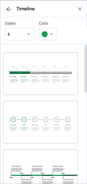 Screenshot from Google Slides showing how to insert and edit a timeline diagram