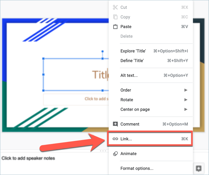 Screenshot from Google Slides showing how to insert links to your presentations
