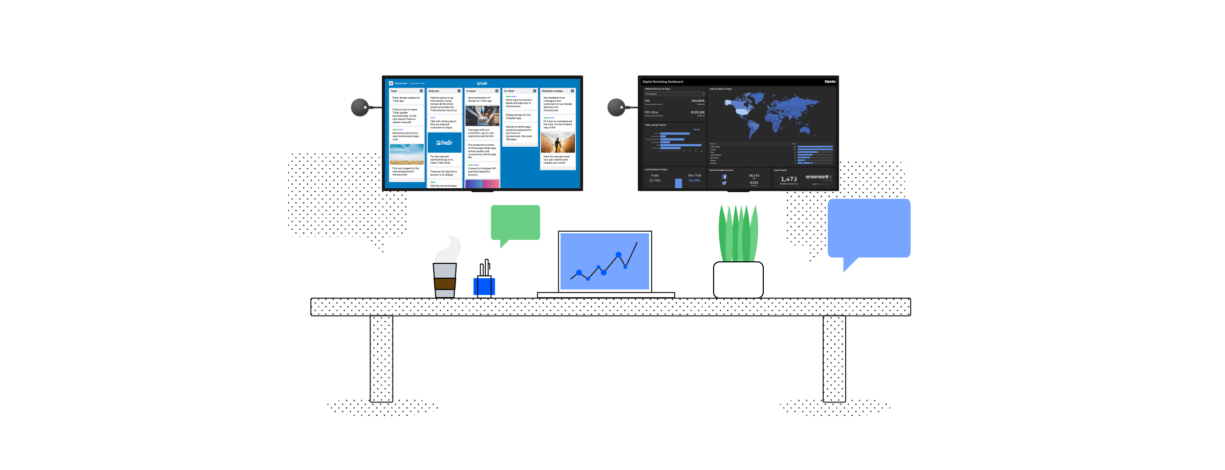 Use Airtame Cloud apps to present digital signage and your project management boards from Trello