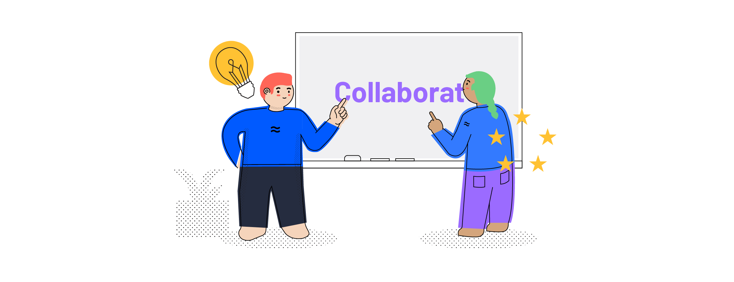 Let's collaborate! Illustration of two Airtame colleagues working together