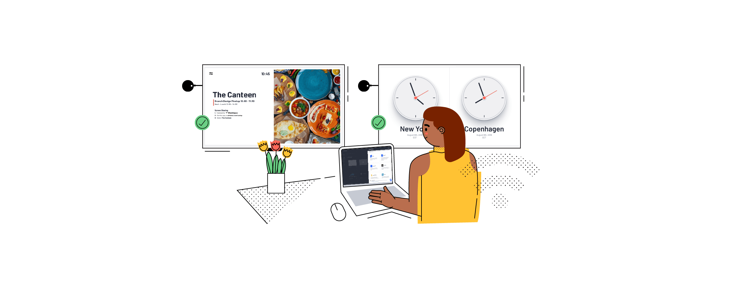 Illustration of office employee using Airtame's customizable default background for digital signage