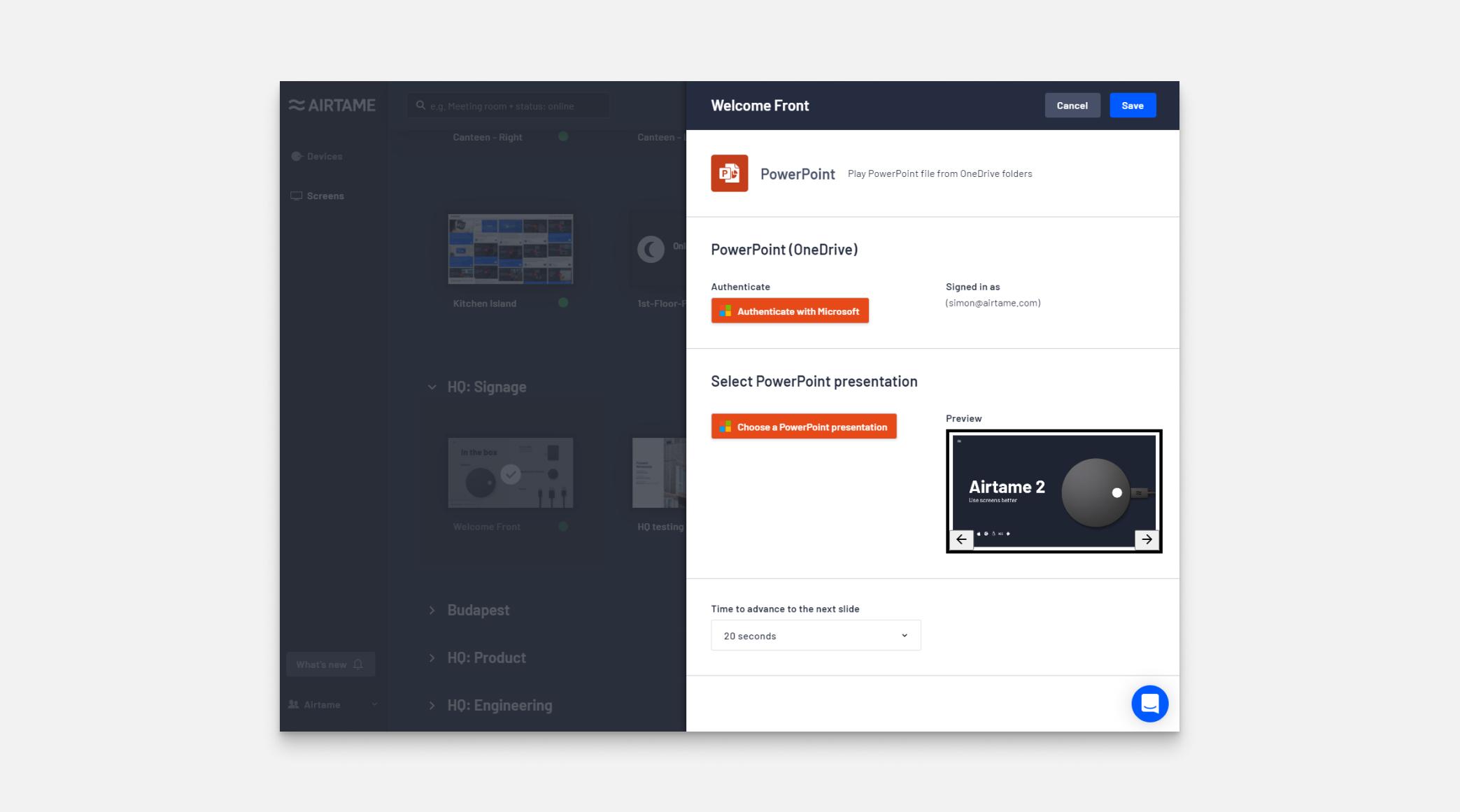Screenshot of the PowerPoint App in Airtame Cloud Plus